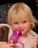 Grace singing with her Dora Microphone