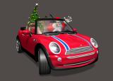 Santa Claus In Mini Cooper