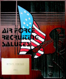 1984 - U. S. Air Force Recruiting plaque given to Coach Mike Feduniak for his support of the Air Force recruiting effort