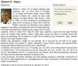 2013 - obituary for former Hialeah High (1962 to 1976) coach Robert Bob Hipke