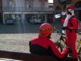 Cyclists in red