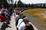 The crowds waiting for the Ol' Faithful geyser