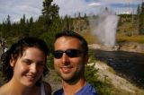 A geyser at Firehole River erupts for 20 minutes