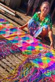 Badjao weaver of mats made from pandan leaves