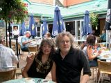 Judy and Richard - breakfast on the patio of La Petit Chateau on Rue St. Louis. Local French cooking - wonderful crepes.