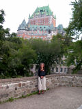 Judy in Montmorency Park with Le Château Frontenac in the background - in Old Québec.