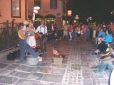 Street performers on Ste-Anne at night - in the Upper Town (Haute-Ville) section of Old Québec.