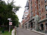 Jardin des Gouverneurs (park - left) and Le Château Frontenac (right) in the Upper Town (Haute-Ville) section of Old Québec.