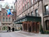 The courtyard entrance to Le Château Frontenac in the Upper Town (Haute-Ville) section of Old Québec.