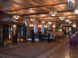 The lobby of Le Château Frontenac in the Upper Town (Haute-Ville) section of Old Québec. We stayed on the 18th (top) floor.