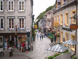 Rue du Petit-Champlain (straight ahead) as seen from the Breakneck Stairs.  Entrance to funicular to Upper Town on the right.