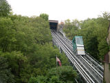 The funicular connecting the Upper and Lower Towns of Old Québec. The view is from Lower Town.