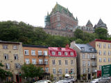 Le Château Frontenac (Upper Town) as seen from Boulevard Champlain in the Lower Town section of Old Québec.