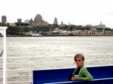Judy on a ferry from Québec City to Lévis. In the background - Lower Town and Le Château Frontenac in Old Québec.