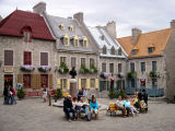 Place Royale in the Lower Town section of Old Québec. In the center is a bust of Louis XIV, the Sun King.