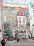 Close-up of part of the Fresque des Québecois mural on the side of a building in the Lower Town section of Old Québec.