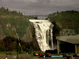 Montmorency Falls: 50% higher than Niagara Falls. Named in 1620's after explorer Champlain's commander, Charles de Montmorency.