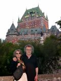 Judy and Richard in Montmorency Park with Le Château Frontenac in the background - in Old Québec.
