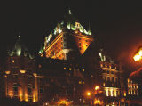 Night view of Le Château Frontenac in the Upper Town section of Old Québec. We stayed here.