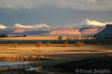 Sunset, dams and snow over Sandstone Estates
