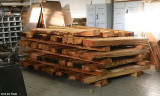 Planks stored inside to dry