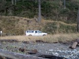 Base of Bluff Light Keepers Arriving by Pick Up Trucks 2d