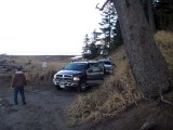 Base of Bluff Light Keepers Arriving by Pick Up Trucks 3e