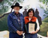 Cathy Kavistad receiving a Desk Jockey Award