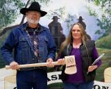 Pam Swigert receiving a Trail Warrior Award