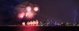 Australia Day Fireworks and Lightning Strike Over Perth
