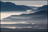 Morning fog near Tremp in Catalonia