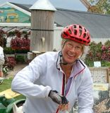 A happy rider trys her luck searching for gem stones at the Harbes' Farms sluice gate