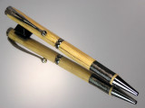 Tonkin Cane Bamboo Fly Rod Slimline Twist Ballpoint Pen Gun Metal Metallic Thread Wrap Black Titanium Hardware