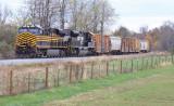 NS 124  has NKP 8100 leading, as the train near Danville KY
