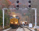 Under the skilled hand of engineer Montgomery, NS 124 comes under the signals at Southfork