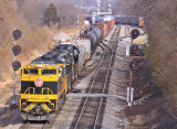 Virginian 1069 leads NS 117 past the searchlight signals  at South Danville