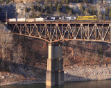 Virginian 1069 brings Southbound train 117 across the Cumberland River at Burnside