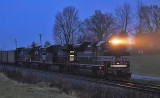 NYC 1066 leads Westbound 77J in the cold Kentucky rain