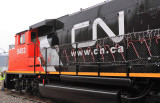 CN GP40-2LW #9452 decked out in new paint and decorations of the season