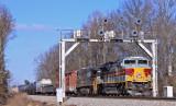 DL&W 1074 brings train 117 under the old signal bridge at Cumberland Chair