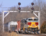 DL&W 1074 leads NS 117 under the signals at Palm