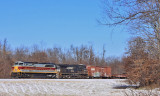 NS 117 rolls South through the snow at Junction City
