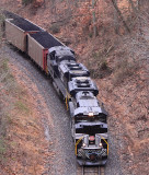 NYC 1066 and 3 other NS engines lift a Northbound coal train up Rosine hill on the PAL mainline