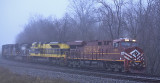 Just after sunrise, NS 111 holds the main at Waddy to meet a Westbound