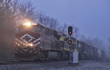LV 8104 & VGN 1069 drag NS 111 up Waddy hill on a cold, foggy morning.