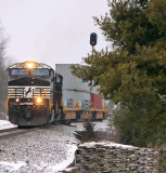 Train 223 pulls out of the siding at East Talmage