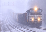 The heavy snow falls as 177 comes through the swag at Gradison