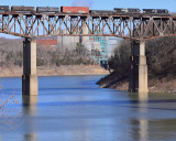 NS 143 crosses the Cumberland River Bridge, as seen from the South portal of CNO&TP  tunnel #4