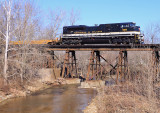 S&A 1065 leads NS I-23 across the creek at Georgetown Indiana