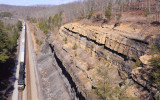 NS 275 grinds through the cut near Keno on a cold, Windy day in Southern Kentucky